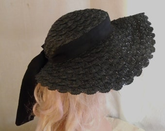 1930's Vintage Wide Brim Straw Hat Black with Long Ribbon Garden Party