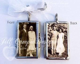 WEDDING BOUQUET CHARM - 2 photos in a two sided Custom Photo Wedding Bouquet Charm - wedding charm - Bridal Bouquet locket - wedding charm