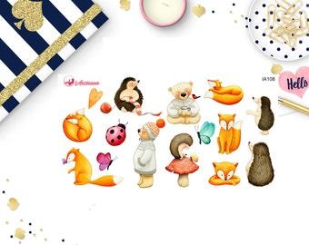 Woodland Animals -  Watercolor Stickers - Planner Stickers - Happy Planner - Erin Condren - Autumn Stickers  - Animal Stickers
