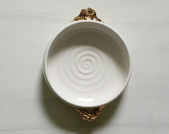 """GOLDRUSH - Shallow porcelain bowl with gold """"nugget"""" handles.  Beautiful and functional ceramic bowl.  White and gold ceramic handmade bowl."""