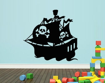 rvz1664 Wall Decal Vinyl Sticker Pirate Ship Boat Gungster Skull Bones Sea Ocean