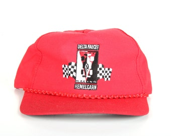 Vintage Red Hat / Delta Faucet Hemelgarn Indy Racing Mens Hat / Racing Trucker Hat / Mens Trucker Hat Cap / Baseball Cap Womens Baseball Hat