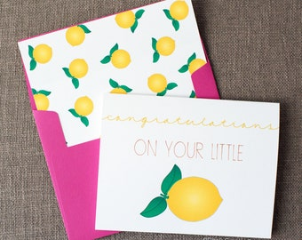 Congratulations On Your Little Lemon Mom to Be Baby Shower Greeting Card | Congratulations on Pregnancy | Cute Baby Shower Greeting Card
