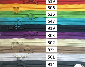 One 30 Inch 4.5mm YKK Zipper with Double Pull- Head to Head Sliders- Your choice of Color-