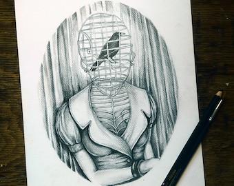 Black & White | Original dark art drawing vintage surreal portrait illustration - Bird-cage Lady