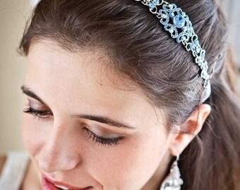 Crystal Headband - Crystal Headpiece - Wedding Headpiece - Wedding Headband - Something Bue - Bridal Headpiece - Prom Headband - SOPHIA