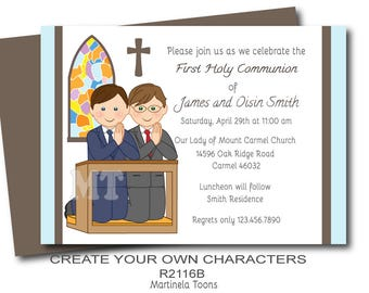 Digital twin boys first communion invitations, two boys 1st Communion sibling invitation, printable First Holy Communion invite