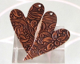 Embossed Heart Drop, Antique Copper, 1 Pair  AC212