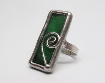 Spearmint Swirl - Sterling Silver Stained Glass Ring - Size 7.5