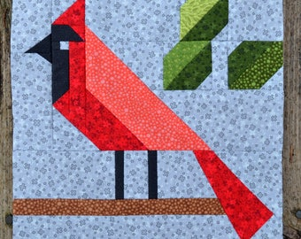 Cardinal Quilt BLOCK Pattern, PDF, Instant Download, modern patchwork, forest, animal, bird, cute, woodland