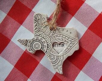 Austin Texas Ornament, Austin Memento, Keepsake, Black and White, Lotus, Abstract