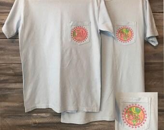 Big Little Shirt, Big Little Sorority Shirt, Comfort Colors, pocket tshirt, lilly pulitzer, Monogram Pocket, Monogram Shirt, Big Little