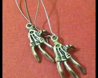 Skeleton Hand Bone Long Earrings, Bird Claw, Silver Tone
