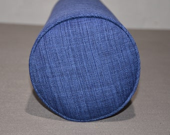 """Round Bolster Pillow Cover and Insert  8"""" Round X 30"""" long. Linen-Navy."""