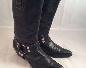 Moto motorcycle boots vintage all leather Spain size 6.5 hippie distressed