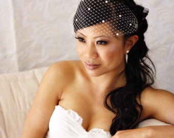 13inch Venetian Bandeau Birdcage Veil with Pearls