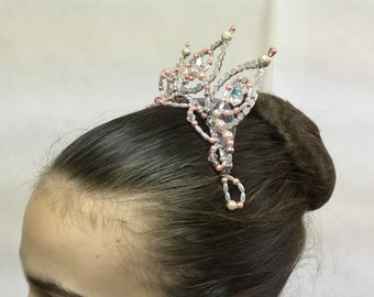 Pink and white professional ballet headpiece