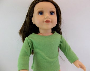 18 inch Doll Long  Sleeve  Green T shirt Long or Short Sleeves Fits American Girl Doll Clothing Toys