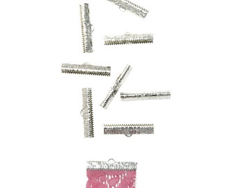50 pieces   30mm  ( 1 3/16 inch ) Platinum Silver Ribbon Clamp End Crimps - Artisan Series