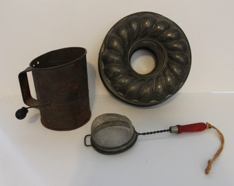Vintage Kitchen Decor Set-flour sifter-bunt pan-strainer-rusty goodness-Instant collection