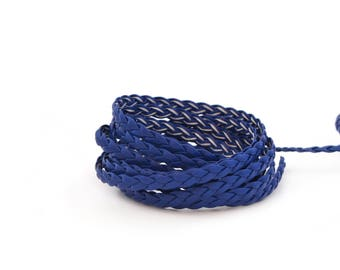 Braided faux blue leather cord