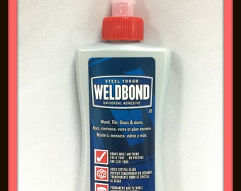 Weldbond Glue Clear Adhesive for Mosaics and Glass Pendants, 5.4 fl.oz,  Sealant, Glue Jewelry Bails, Stained Glass, Glass On Glass, CSA
