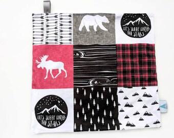 Woodland Lovey - Baby Lovey - Mini Blanket - Security Blanket - Minky Lovey - Snuggle Blanket - Baby Shower Gift - Woodland Nursery