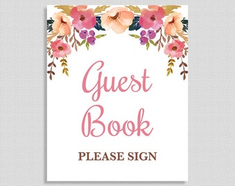 Guest Book Baby Shower Sign, Pink Watercolor Floral Sign, Baby Girl, INSTANT PRINTABLE