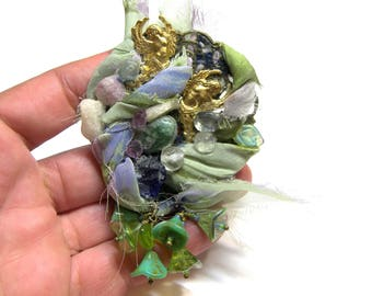 Angel Fabric Brooch Green Pin Brooch Top Selling Jewelry Fabric Pin Angel Pin Angels on Brooch gift for mom assemblage jewelry angels