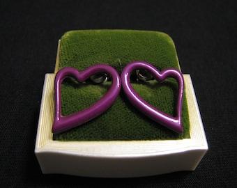 Vintage Purple Heart Pierced Earrings