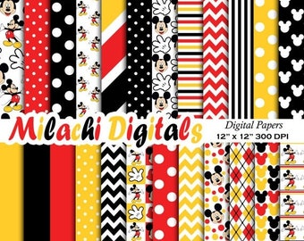 60% OFF SALE Mickey mouse digital paper, scrapbook papers, wallpaper, mickey background, polka dots, chevron, stripes - M403