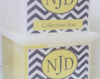 School Memory Box, School Keepsake Box, School Work Organizer, School Organizer, School Paper Storage  - PDF files-Yellow/GrayChevron