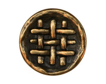 6 Weave 11/16 inch ( 18 mm ) Metal Buttons Brass Color