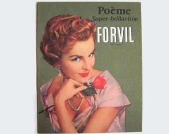 Antique publicity perfume card, FORVIL Poeme Super Brillantine, vintage 1940s 1950s, from Paris.