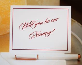 Wedding Party Cards, NINANG, Will You Be Our Ninang, Asking Ninang Card, To My Godmother Card, Asking Godmother Card, Wedding Stationery