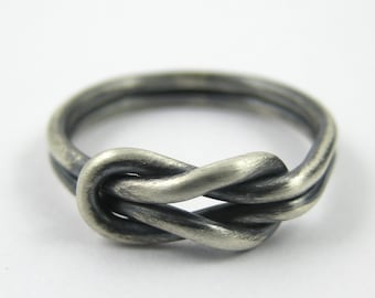 Chunky Silver Infinity Ring, Love Knot Ring, Reef Knot Ring, Square Knot Ring, Sterling Silver Ring 925, Promise Rings, Polished or Oxidised