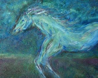"Original Oil Horse painting, ""Night Run"""