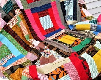Vintage Quilt Topper   Patchwork Quilt Top   Rag Quilt   Machine Stitched Quilt Top   Quilt Fabric   Bed Cover