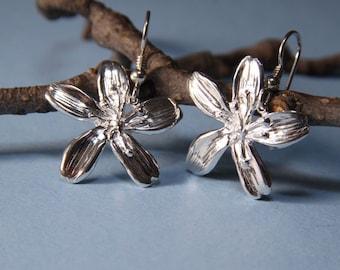 """Jamaica's National Flower  Earrings Sterling Silver  Lignum Vitae   1"""" 1/2 L"""