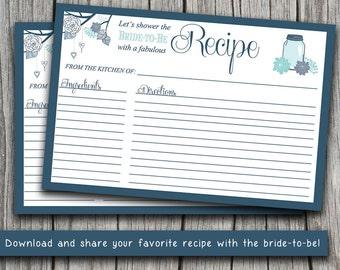 "INSTANT DOWNLOAD Bridal Shower Recipe Card | 4"" x 6"" Mason Jar Recipe Card Printable | Navy Blue Cobalt | Wedding Bridal Shower Gift"