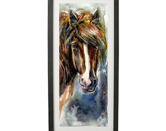 Instant DOWNLOAD or a Print and Ship - Original Watercolor Painting - Horse in art - Horse in wtercolor