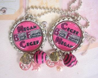 Personalized Best friends set of 2 Bottle cap necklace, Pendant