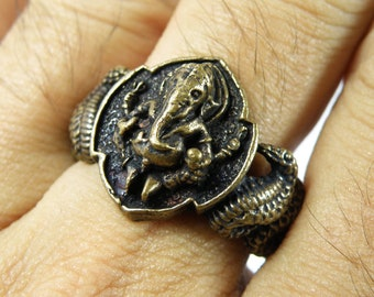 1 Pcs Thai Amulet Good Luck Success Buddha Hindu Ganesha Side Snake Bronze Ring Size 10.5 Us RA401