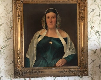 Large Early 19C antique oil painting on canvas 25 x 30 Portrait of A Lady