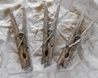 Naturally Weathered Clothespins - Set of 3