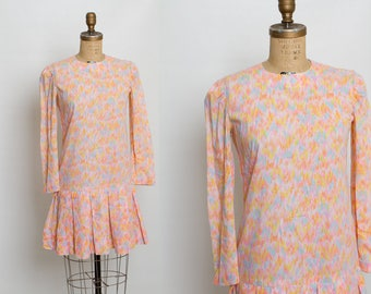 vintage 1960s drop waist dress | cotton candy