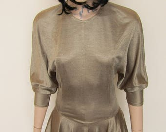 Gold Bodycon Peplum Dress - Size 8-10