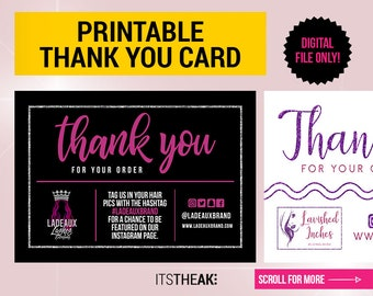 Thank You Card - DIGITAL DESIGN - Card Premade Design Hair Care Tips Package Insert Design Extension Branding Packaging Fashion [No Prints]