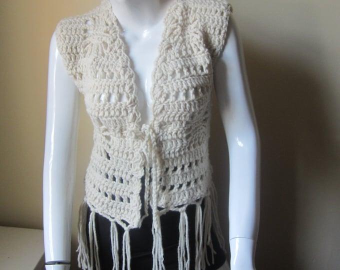 CROCHET VEST/Crochet Fringe Vest/ Hippie crochet vest/festival clothing/gift for her/holiday gift for her/Fall fashion/womens vest/Sweater