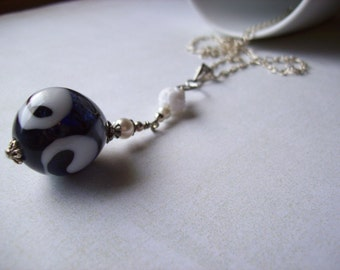 Navy and white handmade glass teardrop bauble necklace.Navy and white necklace.